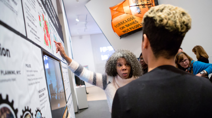 "arrtists of color bloc worked with Alicia Boyd, a community activist to help create ""A People's Monument to Anti-Displacement Organizing,"" photo: Caitlin Ochs for The New York Times"