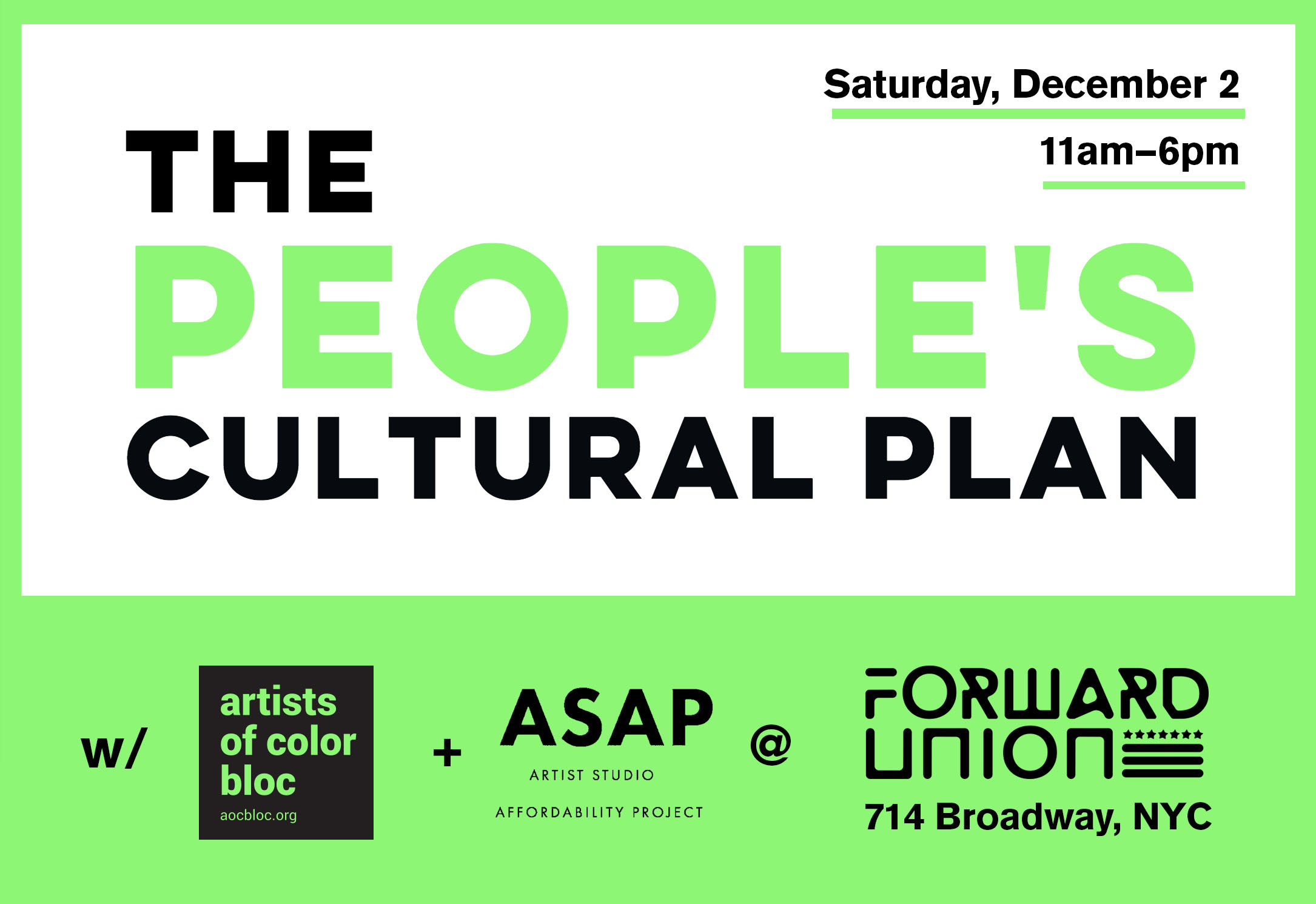 Artists of Color Bloc and People's Cultural Plan at Forward Union December 2, 2017